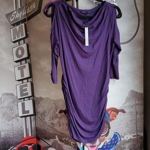 Open shoulder purple top